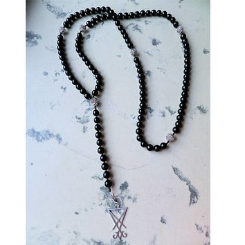 Simple Silver Black Satanic Rosary Satan Lucifer Sigil Meditations 108 beads mala
