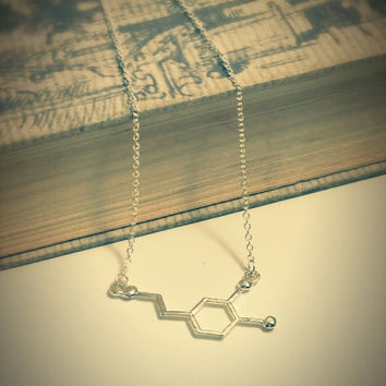 Chemistry necklace,Dopamine necklace,molecule necklace,geometrical Necklace,best friend gift,happy hormone necklace,science,pendant jewelry
