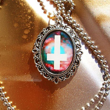 The CosmoChrist Original Inverted Cross Rainbow Galaxy Hipster Necklace on 24 inch ball chain Free Shipping