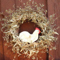 Hen In a Nest wreath - with natural dried everlasting plants - handmade hand painted clay chicken ornament -