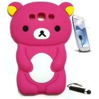 Hot Pink Rilakkuma Bear 3D Cartoon Soft Silicone Skin Case Cover for Samsung Galaxy S3 III i9300