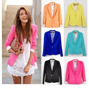 PEAPUNT 2016  Women Suit Blazer Foldable Brand Jacket Made Of Cotton & Spandex With Lining Vogue Candy Colors Blazers Free ShippingA7995