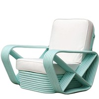 Vintage Rattan Lounge Chairs in Teal