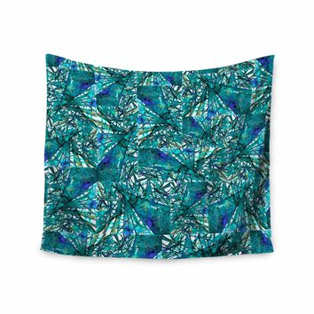 "Ebi Emporium ""New Directions, Peacock Cool"" Teal Blue Pattern Geometric Mixed Media Painting Wall Tapestry"