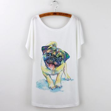 Pug Print Women T-Shirt Female Tops White