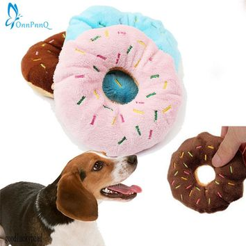 OnnPnnQ Sightly Lovely Pet Dog Puppy Cat Squeaker Quack Sound Toy Chew Donut Play Toys
