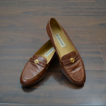 Brown Loafers Brown Flats Brown Leather Shoes Leather Shoes Brown Shoes Etienne Aigner Shoes Size 8.5 M