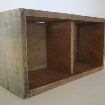 Vintage Wooden Rustic Farm House style Shabby Chic Box With Divider