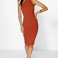 Niki Slinky Ribbed High Neck Midi Dress