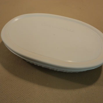 Corning Ware Stoneware Oval With Lid 23-oz French White 679mL Casserole -- Used
