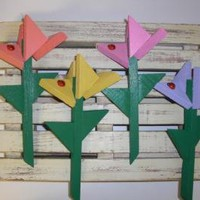 Flower Stakes Small by ABCbirdhouses by ABCbirdhouses on Zibbet