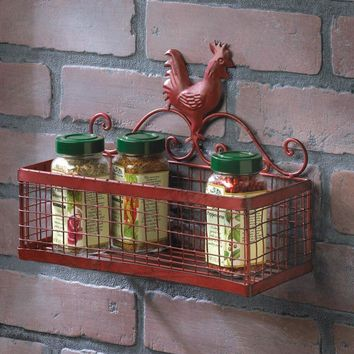 Red Rooster Iron Wall Basket