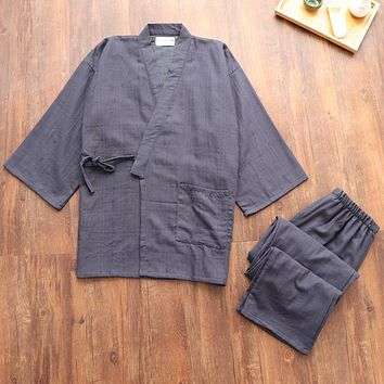 New autumn 100% cotton Japanese kimono pajamas sets men long-sleeve pyjamas simple pijama hombre simple home kimono robes
