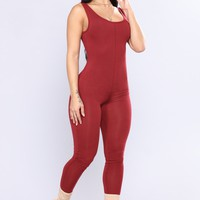 Need A Boost Jumpsuit - Burgundy