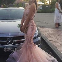 [125.99] Delicate Tulle Sweetheart Neckline Mermaid Evening Dresses With Lace Appliques - dressilyme.com