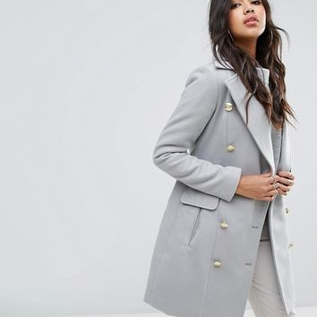Boohoo Double Breasted Military Coat at asos.com