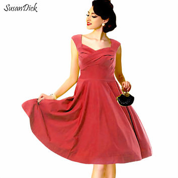 SusanDick Vintage 50s Rockabilly Dress Sleeveless Plus Size Bodycon Women Clothing Ladies Summer Swing Wedding Party Vestidos