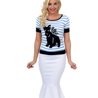 Hell Bunny Retro Style Blue & White Striped Scottie Dog Barney Sweater Top
