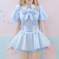 2016 Summer Women Bow tie Lolita plaid Blouse Heart Lace Collar Blouse Pink Blue Butterfly Sleeve Cute Kawaii Mori Girls Shirts