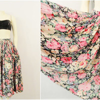 Vintage Skirt 70s 80s Floral Bohemian CAASH Soft Pleated Fabric Modern Small to Medium