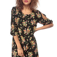 Black Floral Print Woven Shift Dress