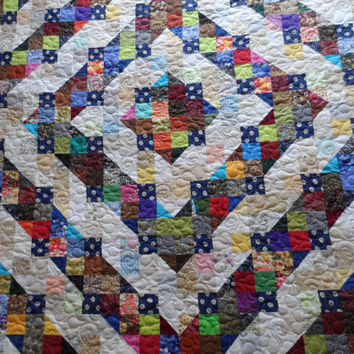 Queen quilt, traditional patchwork quilt, diamond pattern split 9 patch bed quilt, handmade, gift quilt, quilted blanket, quiltsyhandmade