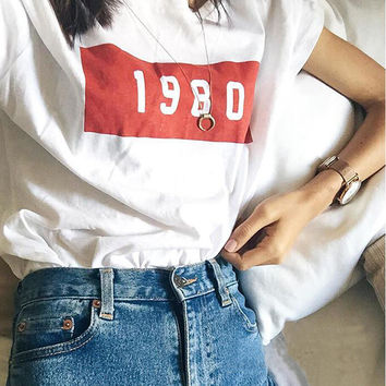 Print Short Sleeve Tops Vintage Women's Fashion Summer T-shirts [11405247631]