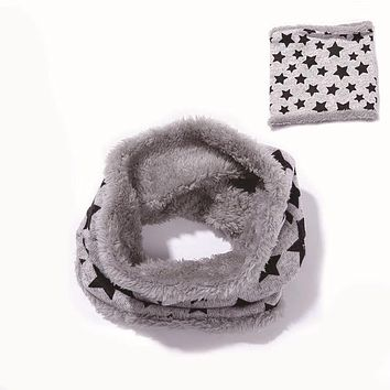 Winter Scarves For Kids Boys Girls Star Printed Cotton Scarf Thick Knitted Scarf Ring Boys Girls Neck Warmer sjaal