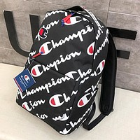 Champion Fashion New More Letter Print Women Men High Capacity Backpack Bag Black