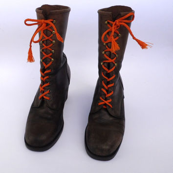 Vtg leather lace up boots Long tie boots Cowboy boots Riding boots Fall  Brown leather boots Western Boho boots Vintage leather shoes
