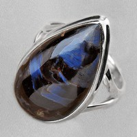 Blue Pietersite and Sterling Silver Ring Size 7