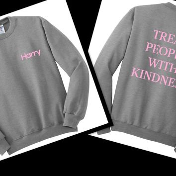 Harry Styles - Harry Logo in Corner / Treat People With Kindness Back Crewneck Sweatshirt