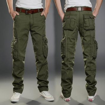 2016 New Casual Men Tactical Cargo Pants Slim multi-pockets Men Pants Three colors available Fashion Cargo Pants Hot Sale
