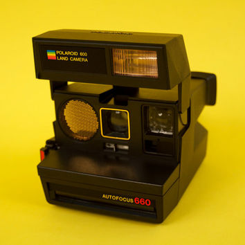 Vintage Polaroid Land Camera Autofocus 660 Hipster Retro Instant Photo 600 / Vintage 80s Gold Rainbow