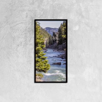 Yellow Stone River - Canvas Wall Art Black Vertical Frame Ready to Hang, 12ⅹ24 inch