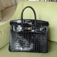 hcxx 1906 Hermes Birkin Fashion Crocodile pattern Handbag Black