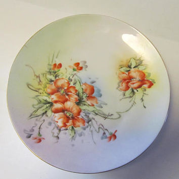 Bavaria Poppies Antique Floral Plates Antique Poppy pattern Bavaria Plates Bavarian China Pastel Decor Pastel Plates