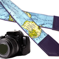 Purple camera strap. North America, Africa, Australia map camera strap. DSLR  / SLR Camera Strap. World Map Camera Strap.