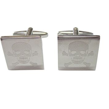 Silver Toned Etched Skull and Crossbones Cufflinks
