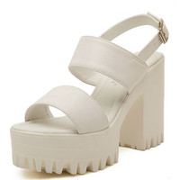 White Strap Buckle Clasp Platform Heeled Sandals - Choies.com