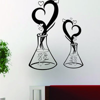 Science Beaker Love School Chemistry Decal Sticker Wall Vinyl Decor Art