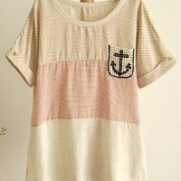 A 071007   Point Naval storm stripes stitching loose T-shirt