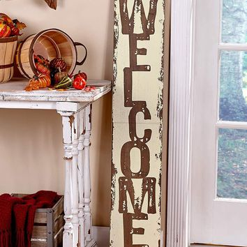 """Welcome Sign Large 47"""" Rustic Primitive Hang or Lean Distressed Lettering"""