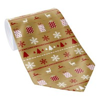Christmas Sweater Pattern, white, red on gold Tie