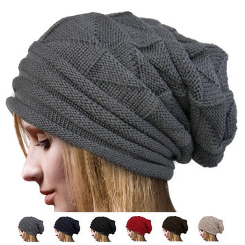 Autumn Winter Fashion Unisex Knit Crochet Solid Warm Baggy Beanie Hat Oversized Slouch Cap = 1838490308