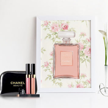 COCO CHANEL POSTER,Chanel Girlfriend Gift,Watercolor Flowers  Art,Makeup Bathroom Art,Gift For Wife,Chanel Art,Chanel Perfume Bottle no5