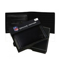 New England Patriots Black Leather Bifold Wallet
