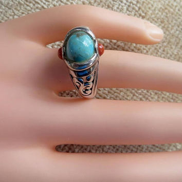 Sterling Turquoise Coral Ring. Etched Band, Bali Style Ring, Size 11 Ring, Southwest Jewelry