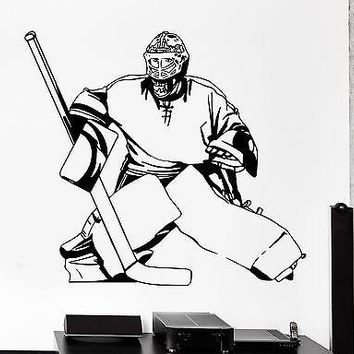 Wall Sticker Sport Hockey Goal Keeper Winter Sport Vinyl Decal Unique Gift (z3024)