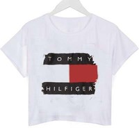 tommy hilfiger broken logo crop shirt graphic print tee for women